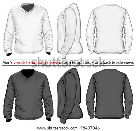 Vector Men's V-neck long sleeve t-shirt design template front back and side view White & black