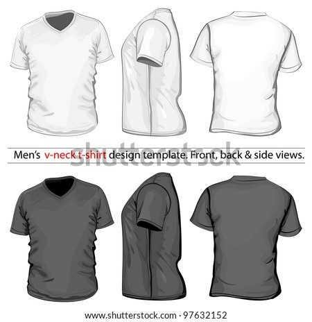 Vector. Men's V-neck t-shirt design template (front, back and side view). White & black
