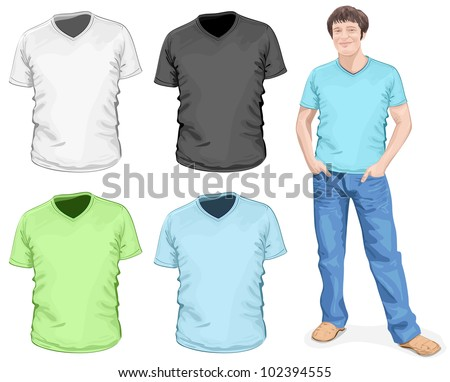 Vector men 39 s v neck t shirt design template front view for V neck t shirts with designs