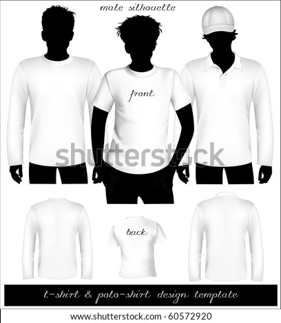 Vector. Men's white t-shirt and polo shirt template with human body silhouette.