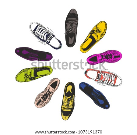 d45aa3d3b6d9 Vector men shoes in a circle over white. View from above