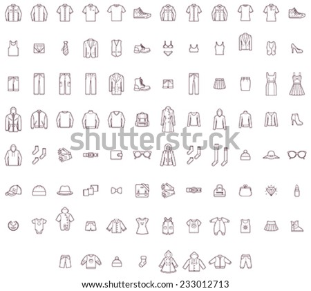 Shutterstock Vector men, women and baby clothes icon set