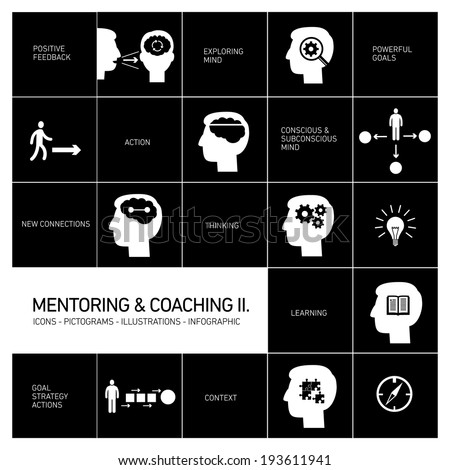 vector mentoring and coaching soft skills icons set modern flat design white illustrations infographic isolated on black background