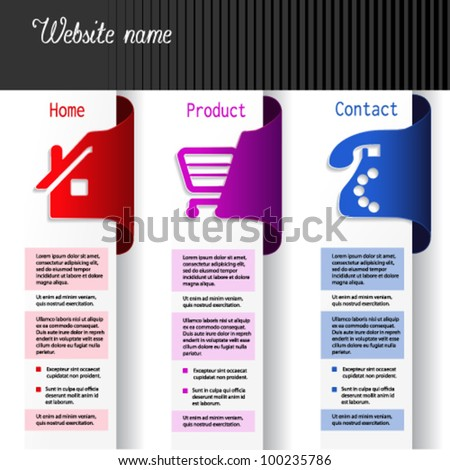 Vector menu navigation labels - web template - home, product, contact