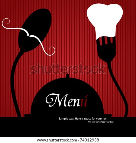 Vector menu pattern with spoon and fork on red background