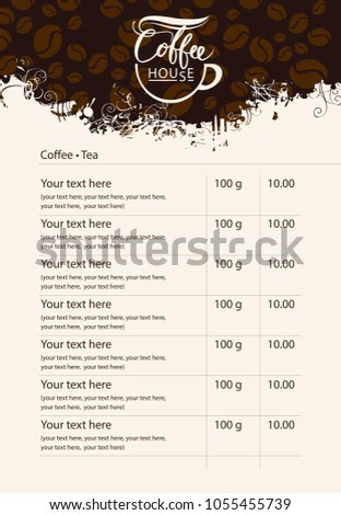 vector menu price list for