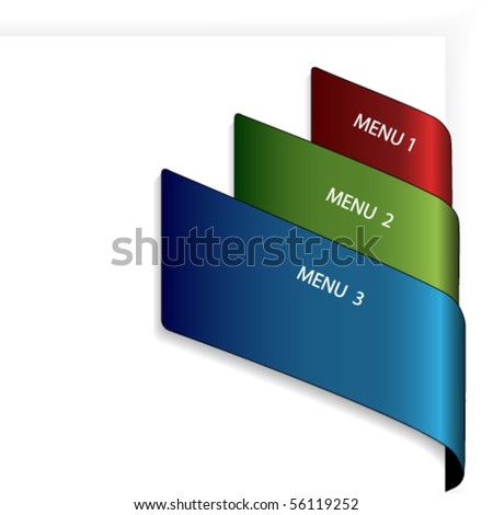 Vector menu tape on the white paper - stock vector