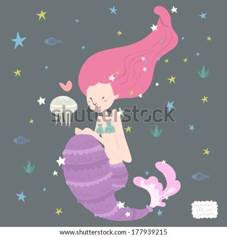 Vector Mermaid Fantasy Illustration
