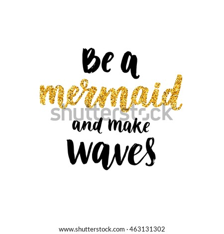 vector mermaid poster with hand