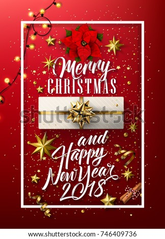 Vector Merry Christmas And 2018 Happy New Year background with golden gift bow