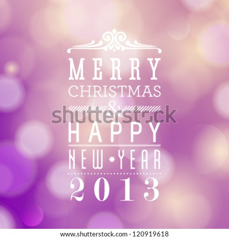 Vector Merry Christmas and Happy New Year card design. Perfect as invitation or announcement.