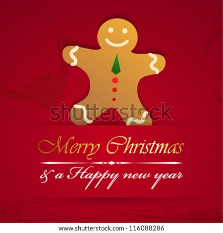 Vector merry christmas background with gingerbread.