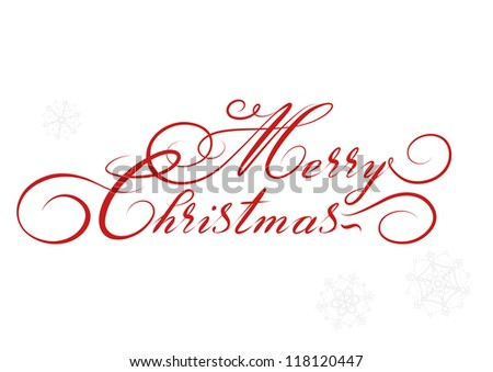vector Merry Christmas card, hand drawn alphabet - stock vector