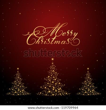 vector Merry Christmas card, hand drawn writing