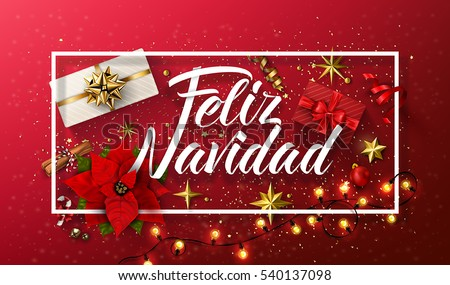 Shutterstock Vector Merry Christmas card template with greetings in spanish language. Feliz navidad