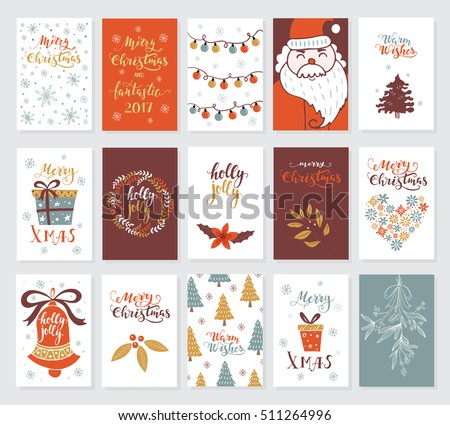 Vector Merry Christmas Greeting Cards And Invitations Isolated On Background.  Big Set With Cute Xmas