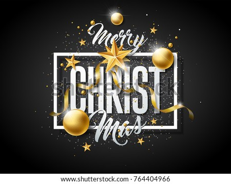 Vector Merry Christmas Illustration with Gold Glass Ball, Cutout Paper Star and Typography Elements on Black Background. Holiday Design for Premium Greeting Card, Party Invitation or Promo Banner. #764404966