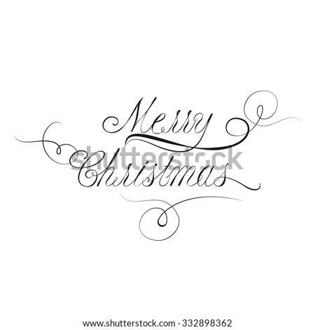Vector Merry Christmas Lettering In Victorian Calligraphy