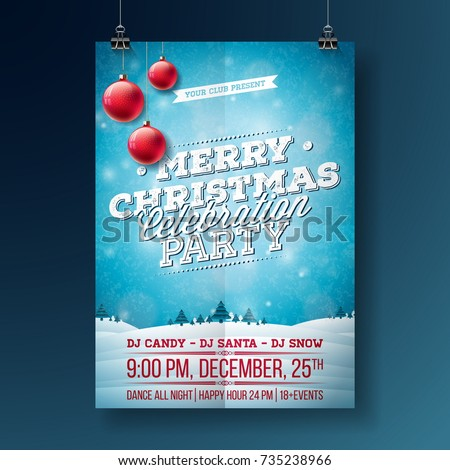 Stock Photo Vector Merry Christmas Party Flyer Illustration with Typography and Holiday Elements on Blue background. Winter Landscape Invitation Poster Template
