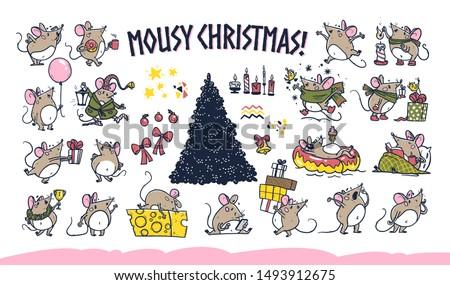 vector merry christmas set of