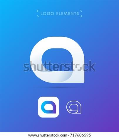 Vector message bubble logo. Material design style