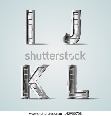 vector metal alphabet letters i