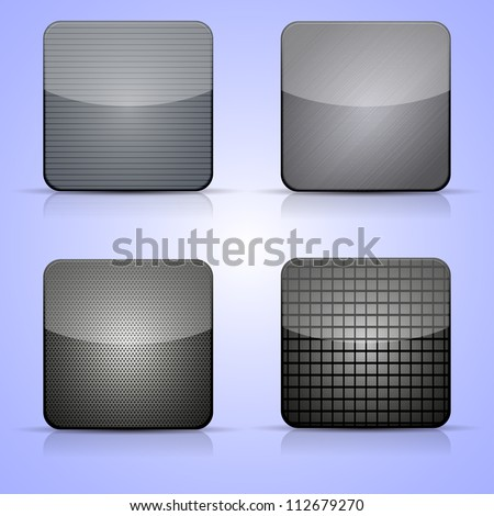 Vector metal app icon set on blue background. Eps 10