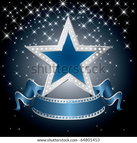 vector metal blue star on the starry night