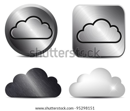 Vector metal button with cloud icon