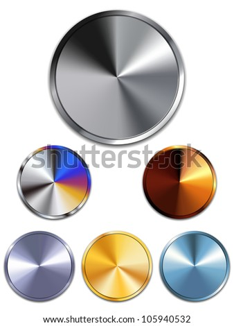 Vector - Metal Buttons. Silver, Gold, Copper