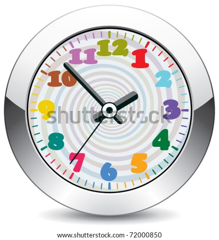 vector metal clock with colorful numbers