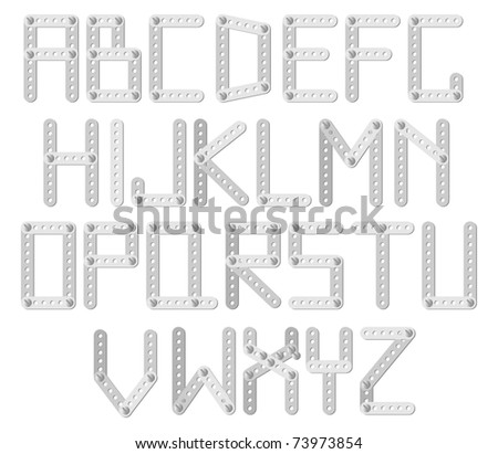 Vector metal designer alphabet on a white background