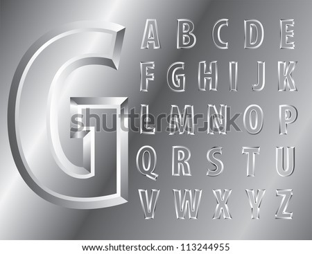 vector metal emboss alphabet - stock vector