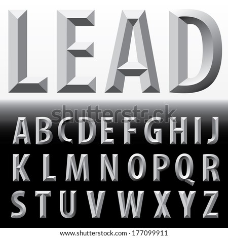 vector metal emboss alphabet