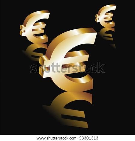 Vector Metal euro symbol on a black background
