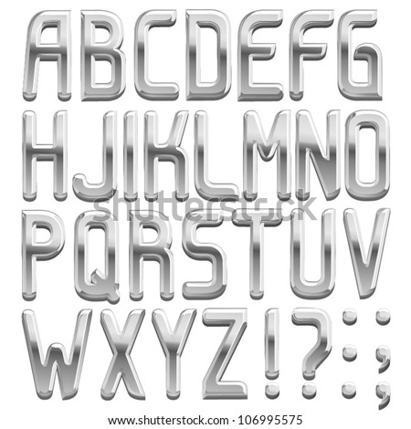 vector metal font  abc a z