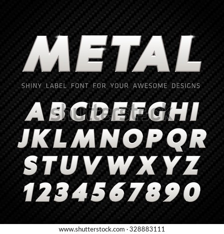 vector metal font on carbon