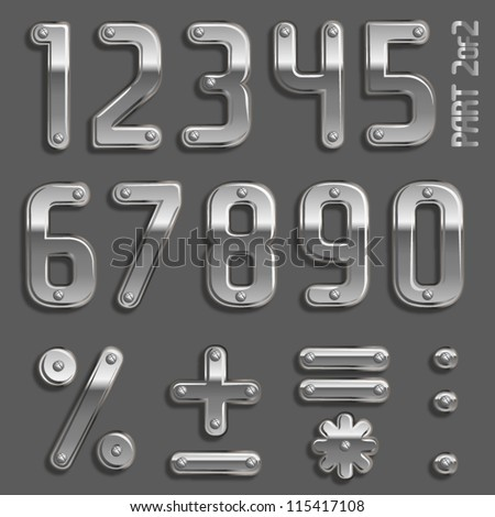 Vector metal font with screw heads PArt 2/2 Numbers