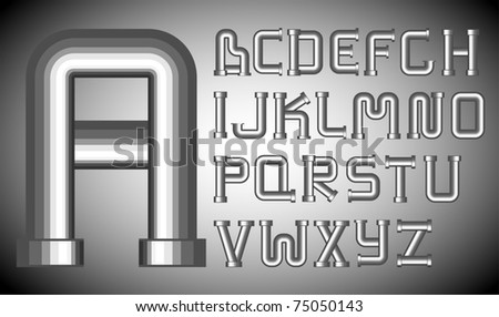 Vector metal funnels alphabet on a gray background