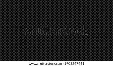 Vector metal hexagonal grid background. Black metal texture steel background. Perforated sheet metal. Black technical background. 3D realistic vector illustration.