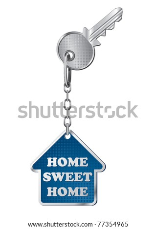 vector metal key and house