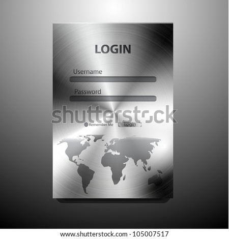Vector metal login form (brushed steel) with world map