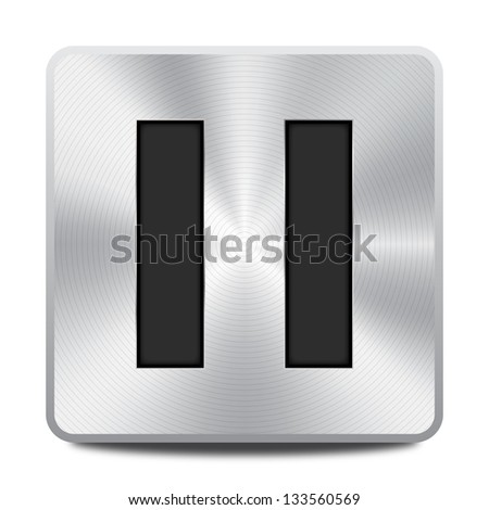 Vector metal multimedia pause icon / button, design element