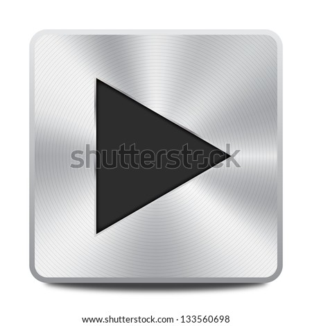 Vector metal multimedia play icon / button, design element