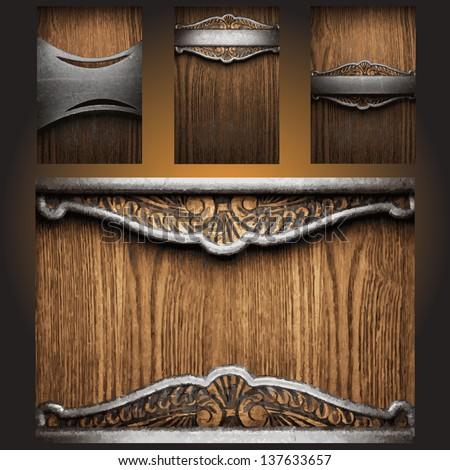 vector metal on wood background