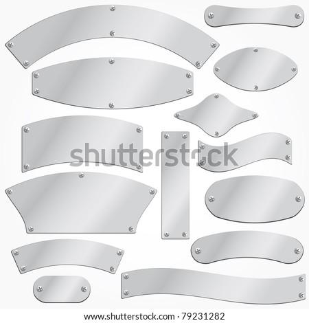 vector metal plates set singboard - stock vector