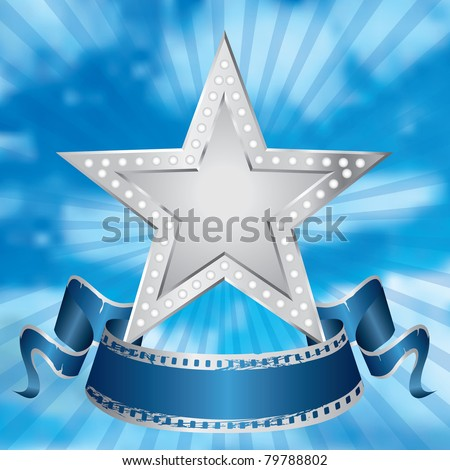 vector metal silver movie star