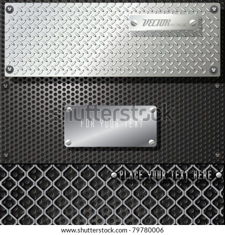 Vector Metal Template Background Set