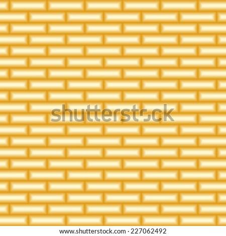 Vector metal texture. Golden abstract background. Golden brick wall seamless pattern.