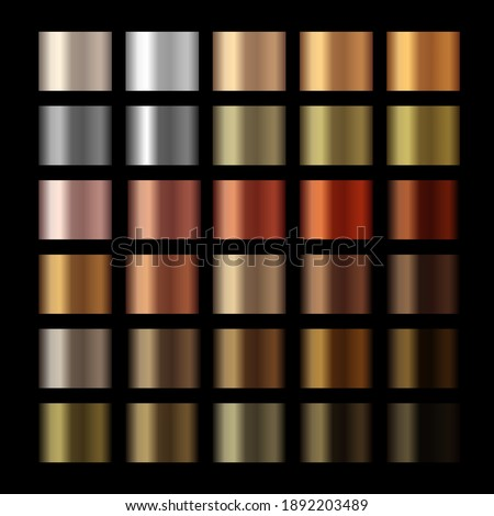 Vector metallic copper gradients, gold, silver, bronze, copper colorful palette collection. Vector glossy swatches with gold and bronze gradient texture backgrounds. Vector design